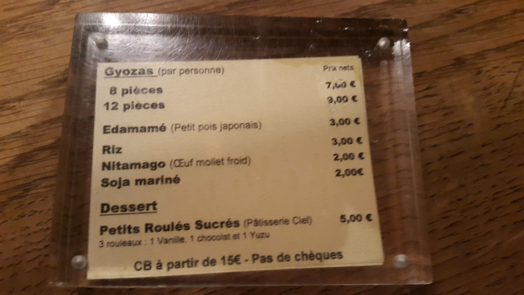 paris gyoza bar menu